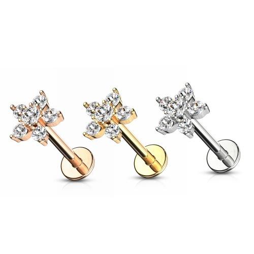 Ohr Piercing mit kristall Blume