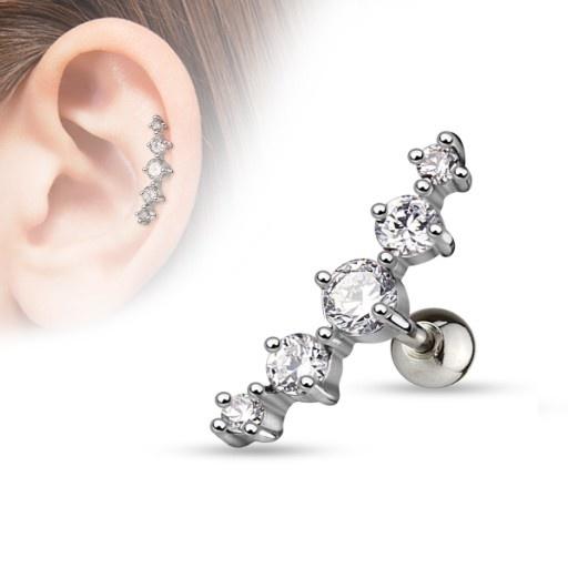 Ohr Piercing mit 5 kristall Steine