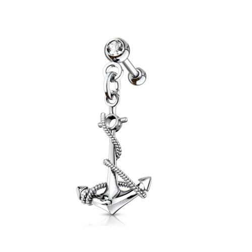Helix Piercing Anker mit kristall Stein