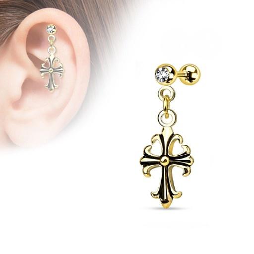 Helix Piercing Kreuz gold-färbig