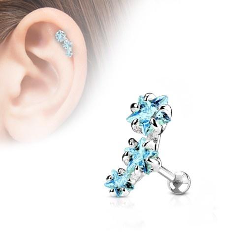 Helix Piercing 3 türkise Sterne