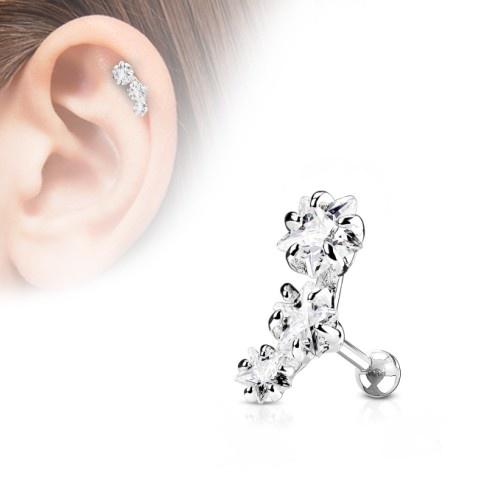 Helix Piercing 3 kristall Sterne