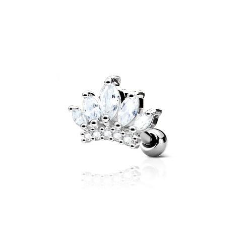 Tragus Piercing Krone Kristall