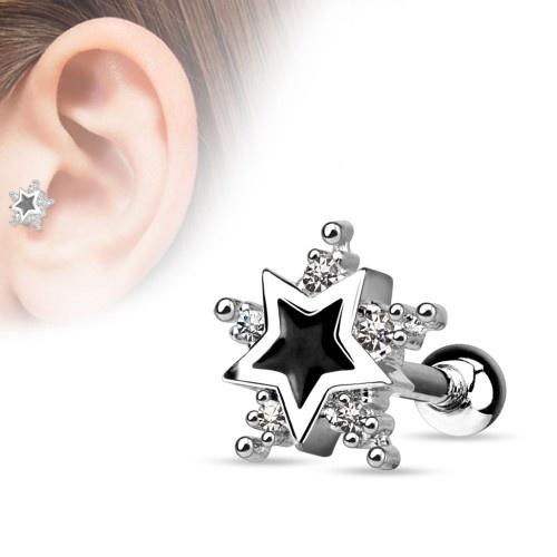 Tragus Piercing Stern schwarz-kristall