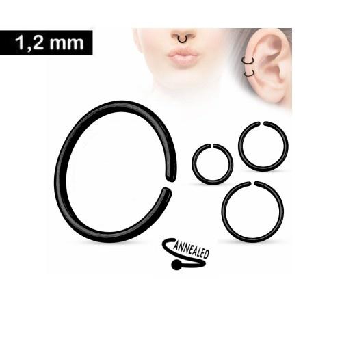 1,2 x 8 mm Piercing Ring schwarz