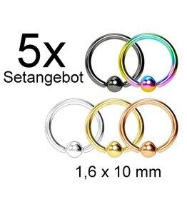 5er Piercingring Set 1,6mm