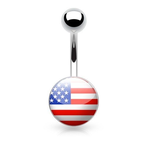 Bauchnabelpiercing  USA Fahne