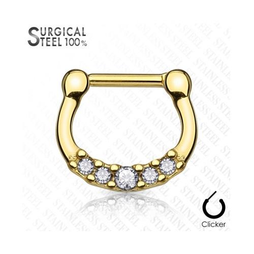 Septum Clicker gold mit Steinchen  - Copy
