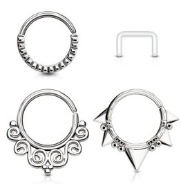 3er Set Septum Piercingring