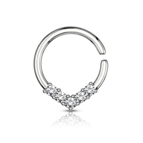 Piercingring mit 5 kristall Steine