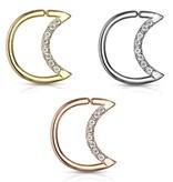 Daith Piercing Mond mit kristall Steinchen