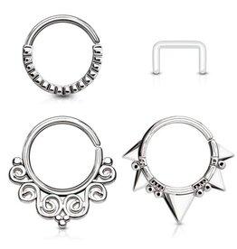 3er Set Septumpiercing Ringe