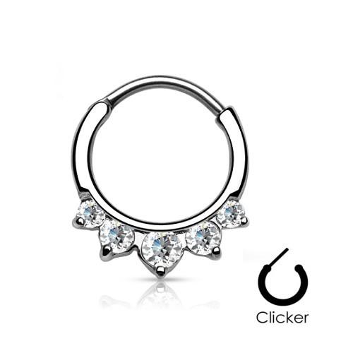 Septum Clicker Edelstahl mit kristall Steinchen