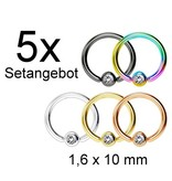 1,6 mm Piercingring Set mit Stein