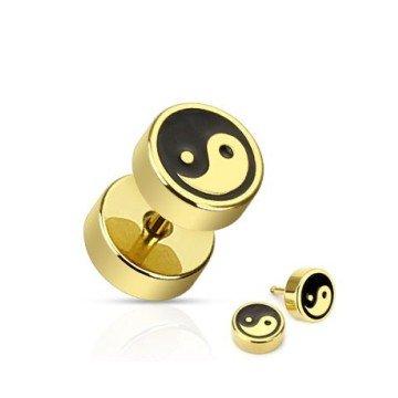 Fakeplug YinYang in schwarz-gold