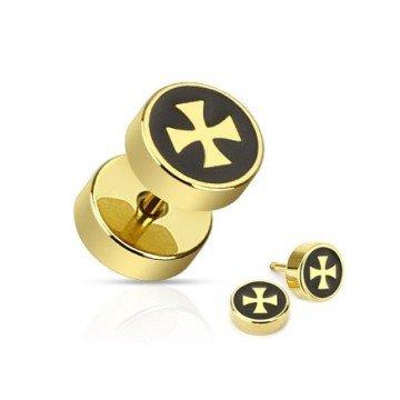 Goldener Ohrstecker mit schwarzen Kreuz