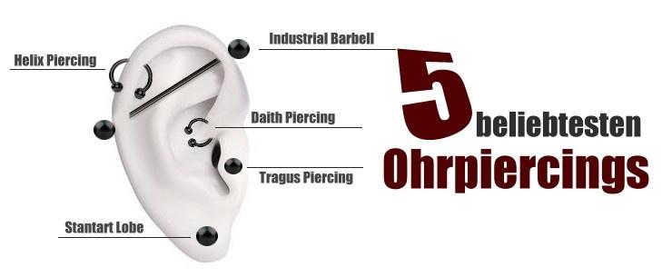 Die 5 beliebtesten Ohrpiercing