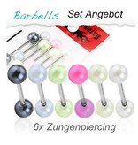 Perlen Zungenpiercing - 6er Set