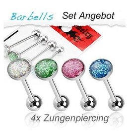 Epoxy Zungenpiercing Set