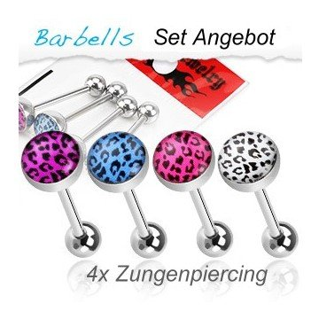 4er Set Zungenpiercing im Leolook