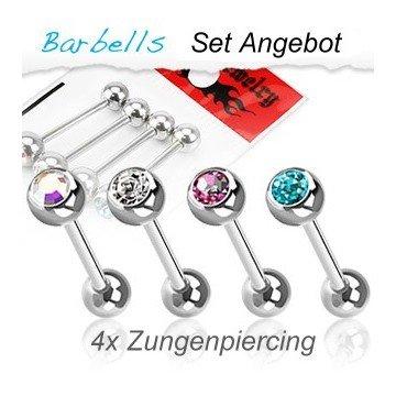Zungenpiercing Set - 4 Piercing