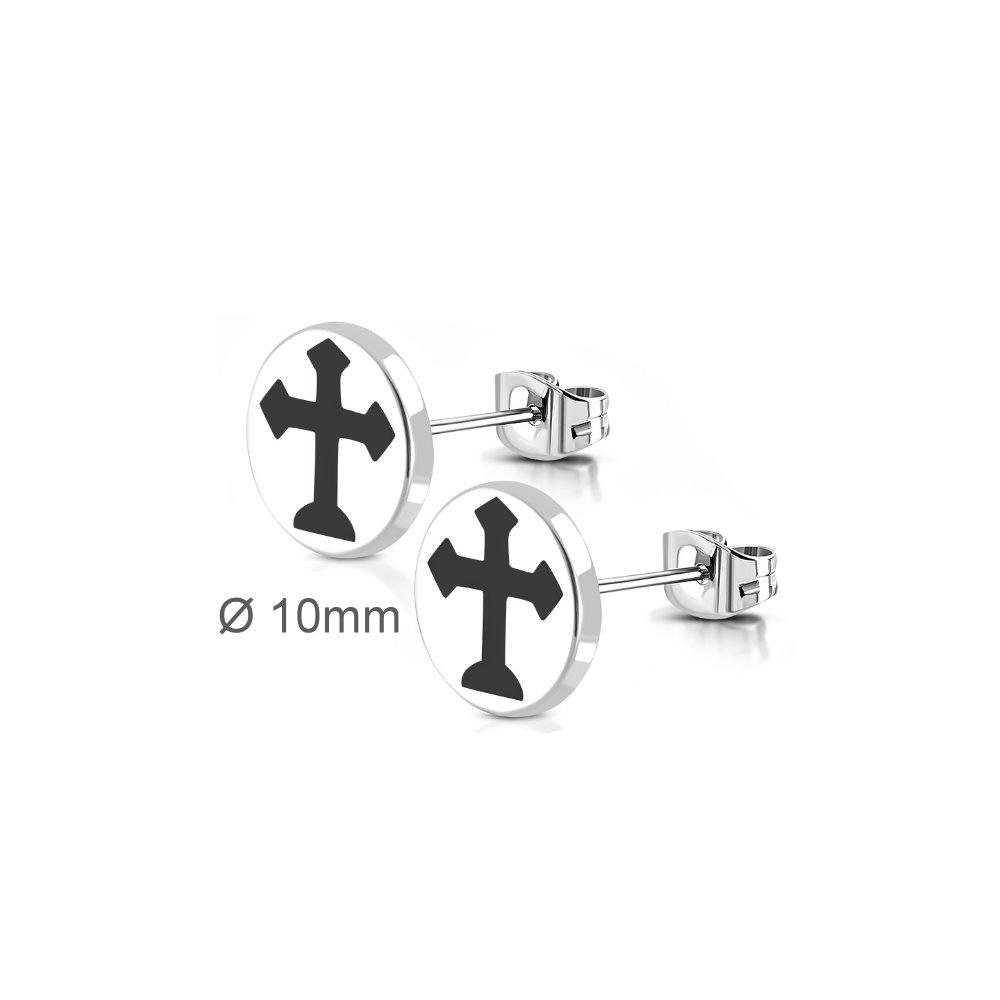 10mm Ohrstecker Kreuz aus Edelstahl