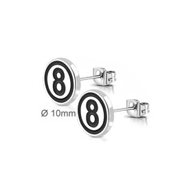 Herren Ohrstecker Eight Ball