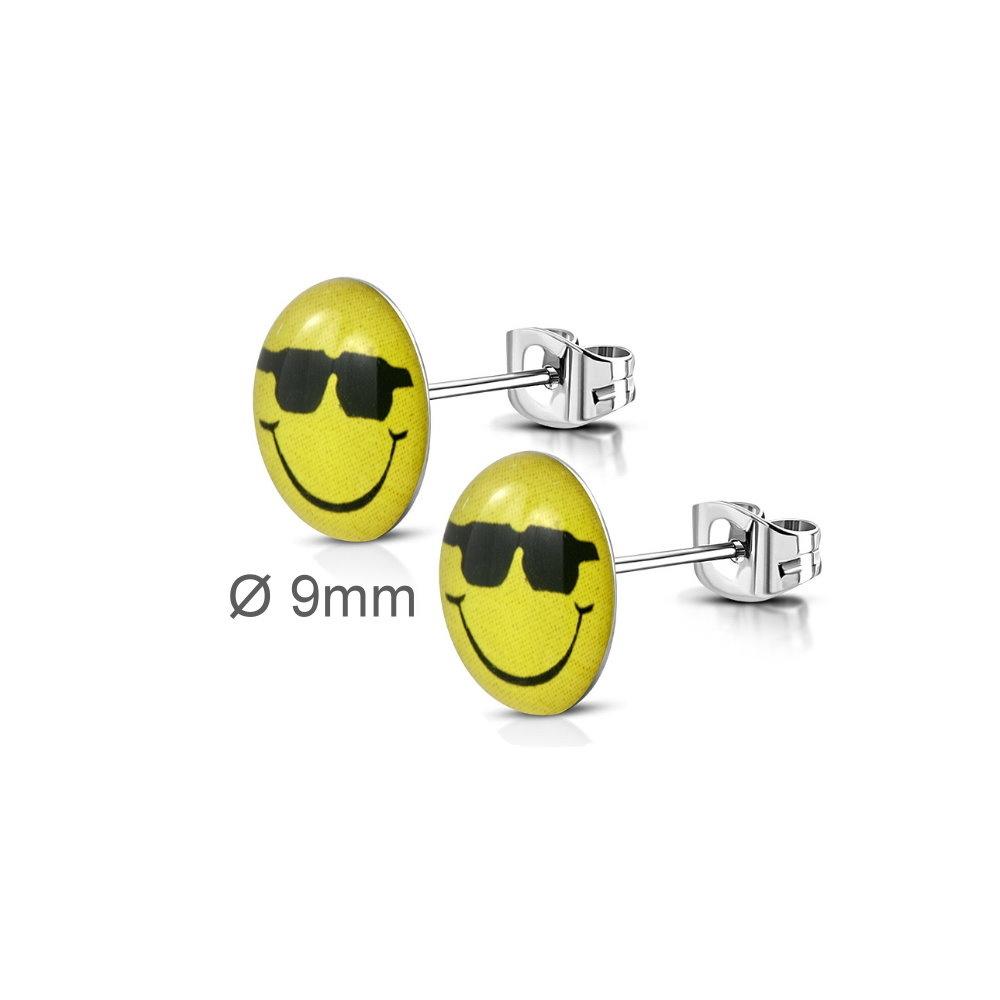 Edelstahl Ohrstecker Smiley mit Sonnenbrille