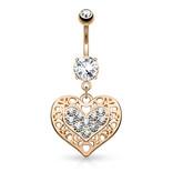 Herz Bauchnabelpiercing mit kristall Stein
