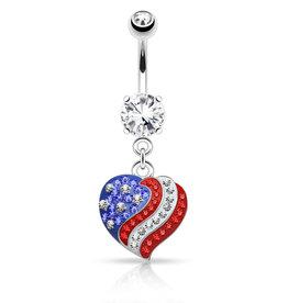 Bauchnabelpiercing Herz mit Amerika Flagge