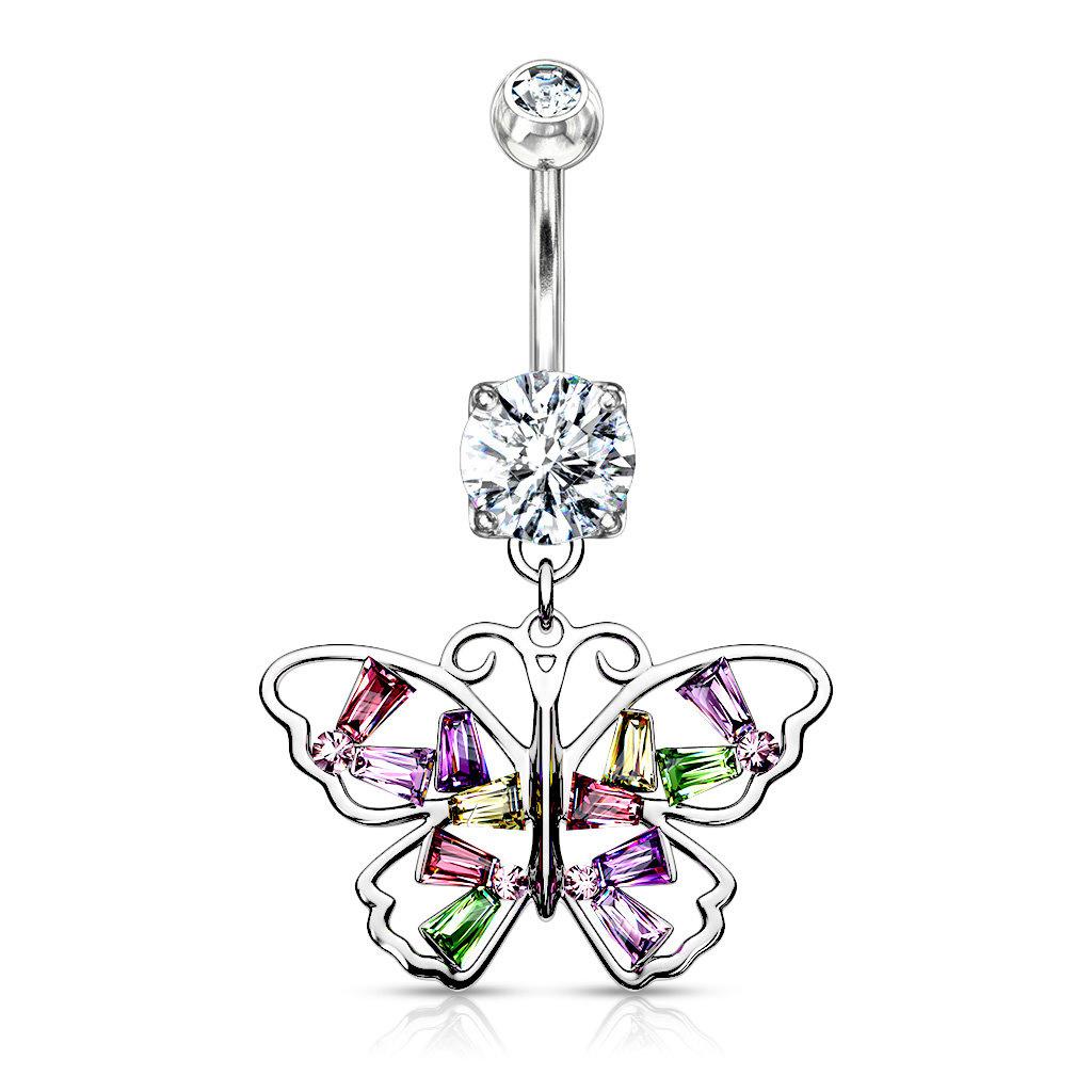 Kristall Bauchnabelpiercing mit Anhänger Schmetterling