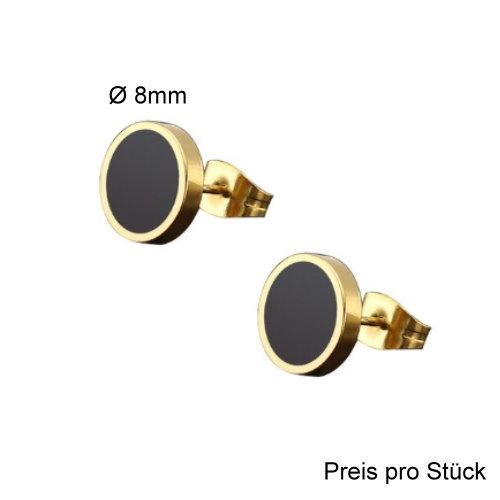 8mm Männer Ohrstecker gold-schwarz