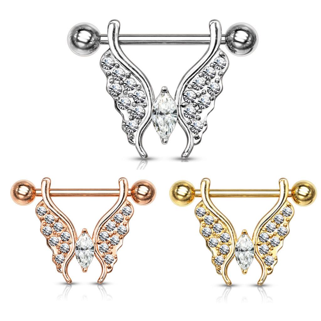 Brustwarzenpiercing  Schmetterling - 3 Farben zur Auswahl