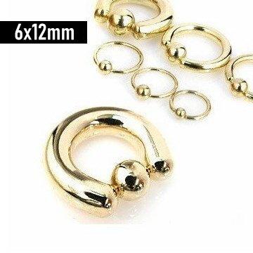 6 mm Piercing Ring goldfärbig aus Chirurgenstahl