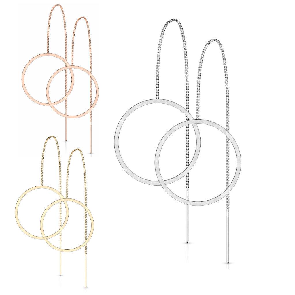 Modische Ohrkette aus Edelstahl - 3 Farben wählbar