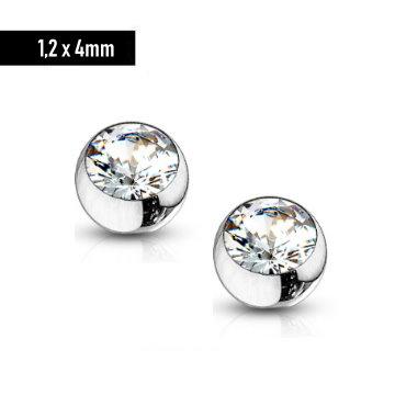 1,2 x 4 mm Piercingkugel mit kristall Stein