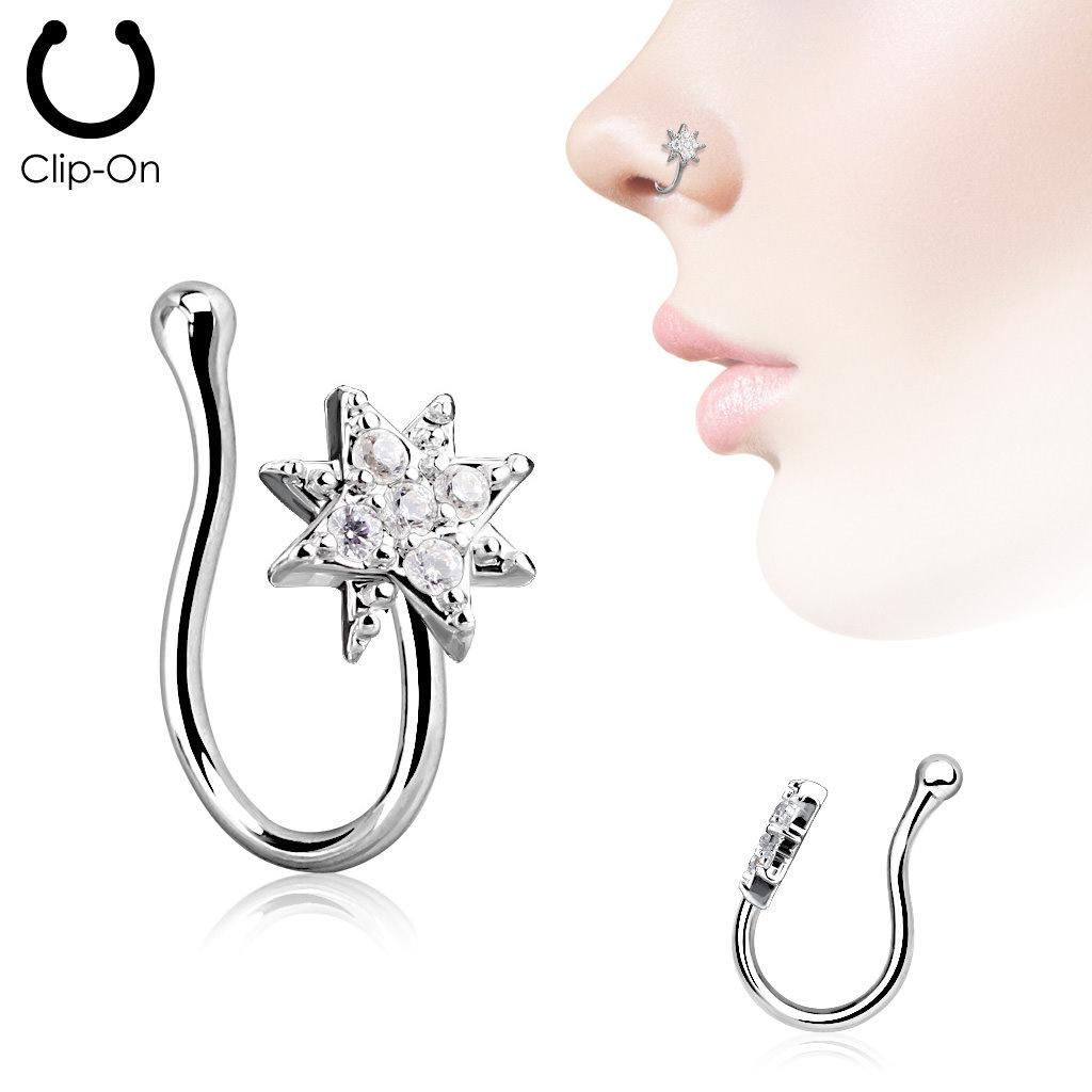 Fake Nasenpiercing mit kristall Stern
