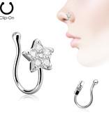 Fake Nasen Piercing mit kristall Stern