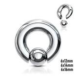 6 mm Piercing Ring aus Chirurgenstahl