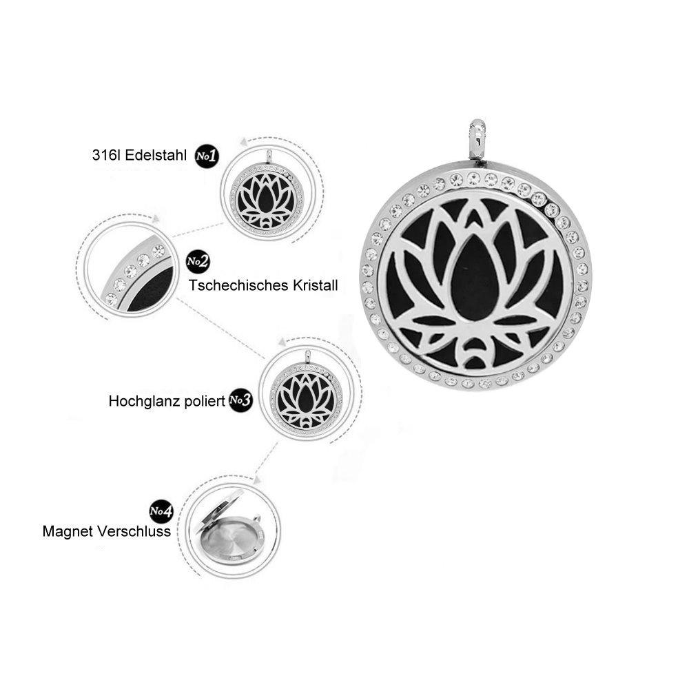 Edelstahlkette Lotusblume mit kristall Steine