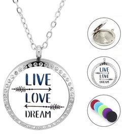 Edelstahlkette Live - Love - Dream