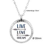 Damen Edelstahlkette Live - Love - Dream