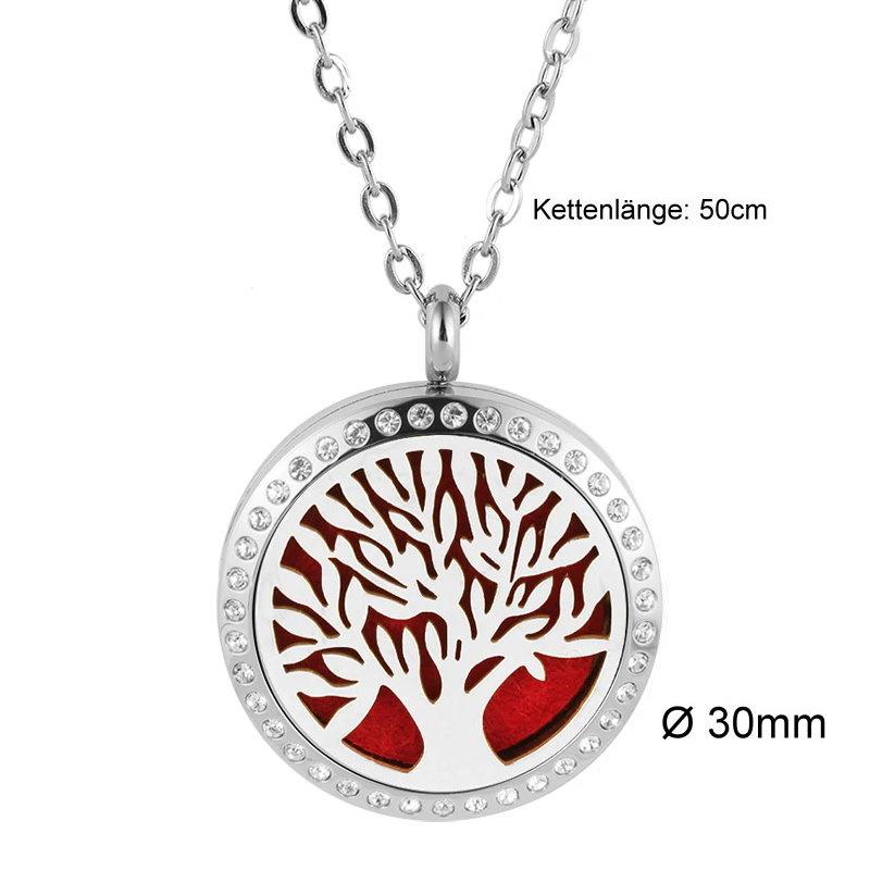 Damen Edelstahlkette Lebensbaum mit kristall Steinchen