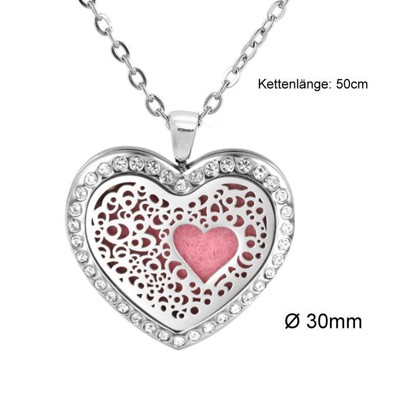 Damen Edelstahlkette Herz mit kristall Steinchen