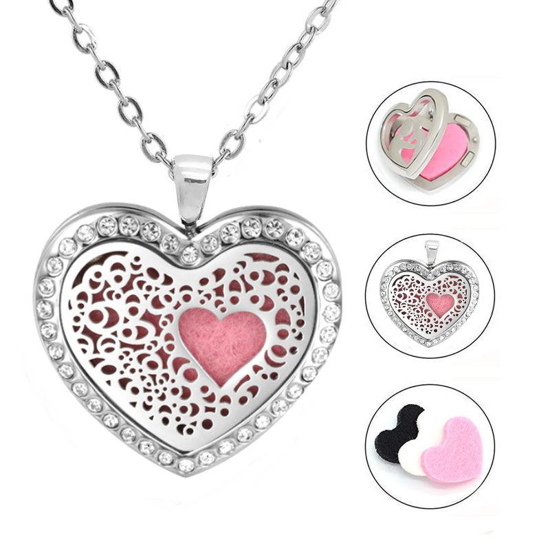 Damen Edelstahlkette Herz mit kristall Steinchen - Copy - Copy - Copy - Copy - Copy