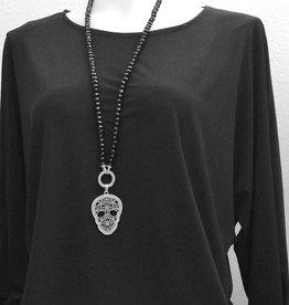 Lange Halskette mit Totenkopf