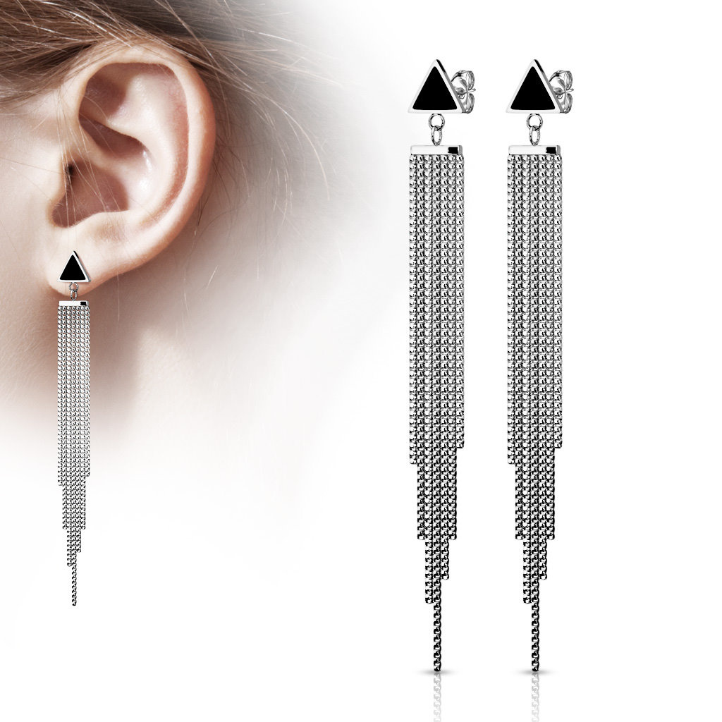 Lange Ohrhänger aus Edelstahl Dreieck