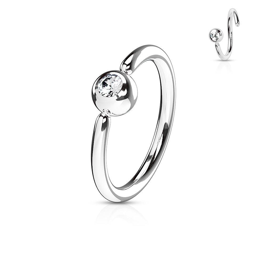 1,0 mm Piercing Ring mit Stein - Aufbiegbar