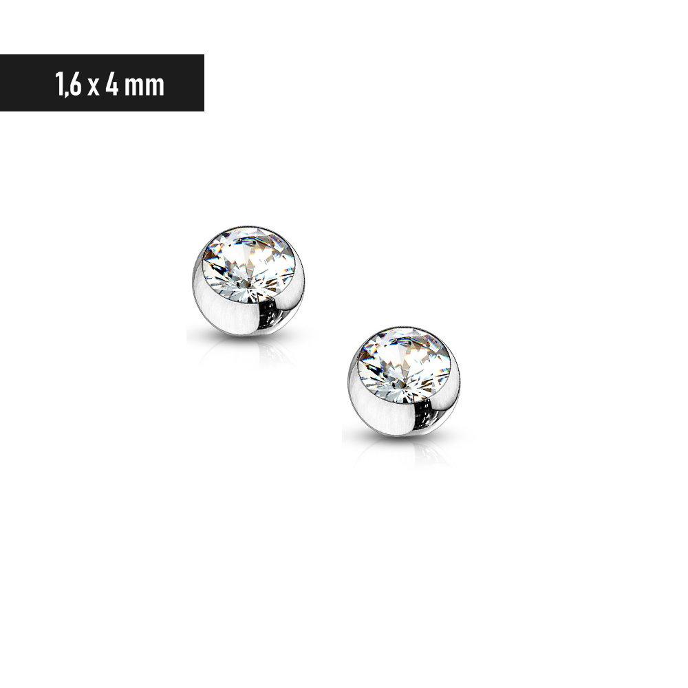 1,6 x 4 mm Piercingkugel mit kristall Stein