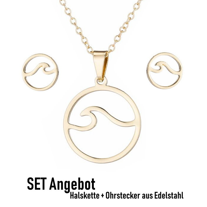 Goldfärbige Edelstahlkette Welle inkl. Ohrringe
